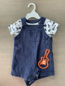 Carters Overalls Outfit Set Guitar Music Theme Blue White 6 Mos Baby Boy Girl