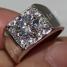 Size 7-10 COOL Stainless Steel Silver Men's White Sapphire Handmade Band Ring