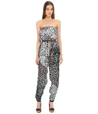 Just Cavalli Leo Print Silk Sleeveless Jumpsuit, Women's EU 44, Multi-Color NEW