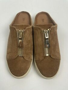 FRYE Lena Zip Mule Tan brown Suede Leather Slip On Sneaker Size 6.5