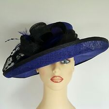 Ladies Formal Wedding Hat Races Mother Bride Royal Blue & Black Stunning