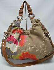 Fossil Large Canvas Sequin Embroidered Slouchy Convertible Tote Shoulder Bag