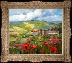 "Oil painting original Art Impressionism Landscape Flower house on canvas 20""x24"""