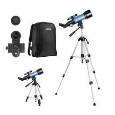 70mm Telescopes with Adjustable Tripod 10X Phone Adapter Backpack for Beginners