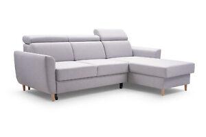 Modern Ecksofa Grau GUSTAW Universelle Ottomane Sofa Schlaffunktion Ecke Couch