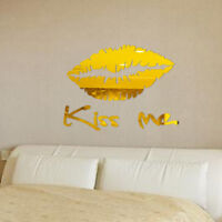 Removable 3D Mirror Kiss Me Wall Stickers Decal DIY Home Room Art Mural Decor AU