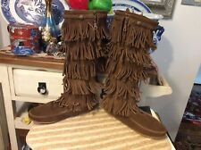 Women's Minnetonka Moccasin 5-Layer Fringe Suede Brown Western Tall Boots 9,euc