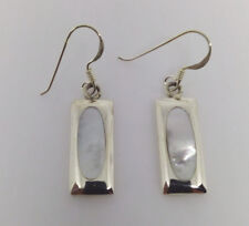 Sterling Silver Rectangular White Mother Of Pearl Drop/Dangle Earring