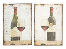 Shabby Vintage Chic Metal Wall Plaque Signs - Vino Wine Set of 2 - NEW