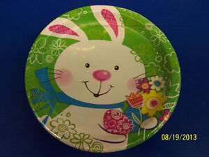 """Hoppy Bunny Easter Rabbit White Cute Theme Holiday Party 7"""" Paper Dessert Plates"""