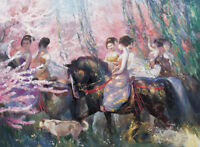 Art Oil painting Chinese ancient beauties on horses in springtime canvas