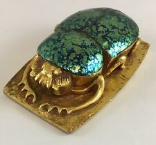 "Vintage Egyptian Scarab Beetle Gold Jewel Tone PAPERWEIGHT Sculpture 5.25"" 1 lb"