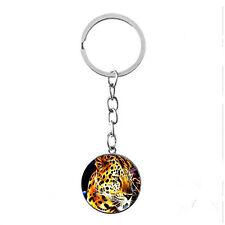 Vintage Glass photo Cabochon Tibetan silver Metal Key Ring (leopard)