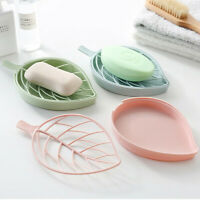 Plastic Soap Dish Holder Water Drain Tray Plate Storage Box Rack Bathroom Supply