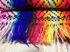"""Scarf Machine Knitted Rainbow Colors 56"""" x 20"""" 1"""" Fringe (on Ends)"""