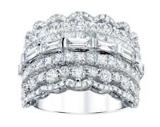 Diamond Ring 5.75ct Princess Baguette 18k White Gold Extra Wide Band VS1