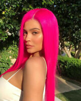 Rose Pink Lace Front Wig for Women Long Straight Full Synthetic Hair Wigs