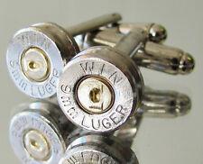 9MM Luger WINCHESTER Bullet Cufflinks Gold Silver Nickel Gun Rifle Mens Jewelry