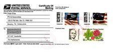 USA APC/CVP/ATM - 2x different Flag Error Overprinted stamps on USPS Form 3817