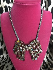 Betsey Johnson Vintage Fairyland LARGE Rainbow Crystal Flower Heart Bow Necklace