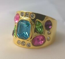 G-Filled Ladies 18k gold ring blue topaz peridot pink sapphire amethyst cz color