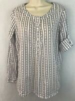 Tommy Hilfiger Womens Blouse Anchor Print Popover White Blue Long Sleeve Small