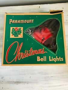 Vintage 1950s Paramount Christmas Bell Lights In Original Box WORKS!!!