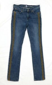7 for All Mankind Embroidered Straight Blue Jeans Teen Girls Size 12 Medium Wash