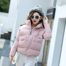 Women Winter Quilted Coat Cotton Collar Padded Jacket Puffer Crop Outerwear $