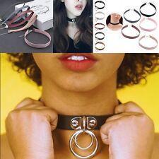 Studed PU Leather O-Ring Choker Punk Rock Collar Goth Harajuku Necklace