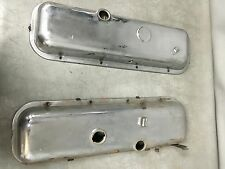 Pair of Chrome Valve Covers w Dripper Rails for Chevrolet Big Block