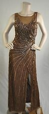 Patra New With Defects Sequin Open Back Dress Gown Bronze Brown Size 6 Ret $299