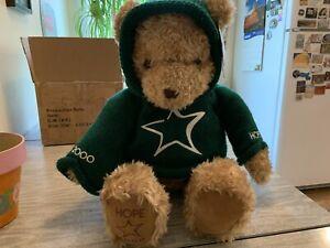 "Vintage Gund Hope Millenium Wish 2000 Plush 27"" Teddy Bear Green Knit Hoodie"