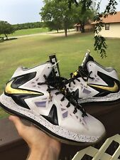 Nike LeBron X 10 PS Elite White Black Gold Sz 11.5 579834-100 Playoff Home
