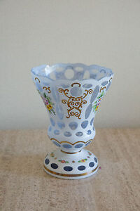 Magnificent Antique Moser Bohemian cut to clear Blue Hand painted glass vase (89