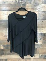 Sympli Women's Black Asymmetrical Layered 3/4 Sleeve Tunic Blouse Size 10
