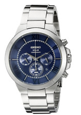 Seiko Men's SSC281 Solar Stainless Steel Band Chronograph Blue Dial Date Watch