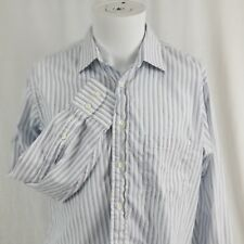 Vintage Burberrys Medium 15.5 32 White Blue Striped Collared Dress Shirt Men's