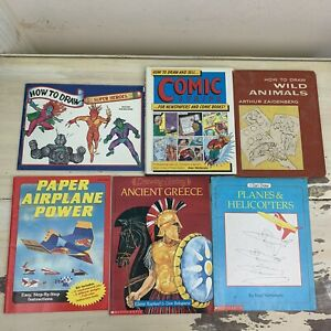 DRAWING 6 BOOK LOT - Super Heroes, Paper Airplanes, Airplanes, Comics, Animals