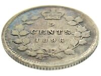 1896 Canada Five Cents Small Silver Canadian Circulated Victoria Coin M867