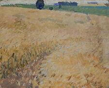 Vintage Landscape Wheat field Original Oil Painting by Ukrainian artist Shponko