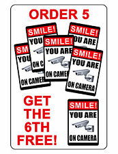 Smile you are on camera Security sign.Durable Aluminum.Glossy.No Rust 6th FREE!