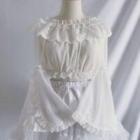 Lady Flare Sleeve Frilly Blouse Chiffon Lolita Lace Top Crop Shirt Retro Elegant
