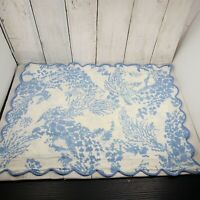 Vintage D.Porthault  Boudoir Sham Scallop Cotton Blue Floral France 19 X 14.5 In