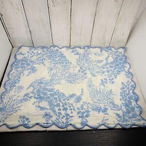 Vintage D.Porthault  Boudoir Sham Scallop Cotton Blue Floral France 19 X 14.5 In