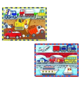 Chunky Puzzles x 2 VEHICLES CONSTRUCTION ~ Melissa and & Doug ~ Brand New Sealed