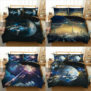 Galaxy Space Universe 3D Bedding Set Duvet Cover Pillowcase Single King AU2F