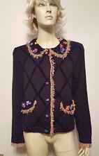 Jack B. Quick Black Sweater Floral Designs Button Down Sz M
