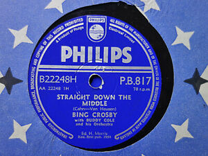 BING CROSBY - Straight Down The Middle / My Lucky Day 78 rpm disc (A++, 1958)