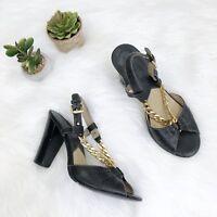 MICHAEL KORS Black Leather Peep Toe Slingback Gold Chain Sandals Heel Sz 7.5